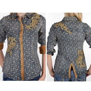 Roar Chambray Printed Distressed Western Style Top